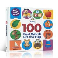 英文原版 Disney Baby 100 First Words Lift-the-Flap 幼儿启蒙认知图画100词单词书大开本揭页翻翻纸板书儿童小词典迪斯尼出版