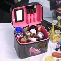 韩国大容量双层化妆包便携旅行可爱化妆箱手提大号洗漱化妆盒