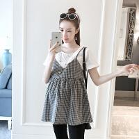 宽松孕妇装夏装上衣孕妇衬衣夏季短袖衬衫韩版黑白格子假两件