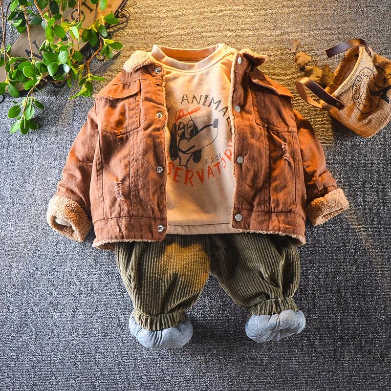 宝宝冬装套装1-234岁5男小童冬季加绒三件套婴幼儿休闲外出服潮衣 发货周期:一般在付款后2-90天左右发货,具体发货时间请以与客服协商的时间为准