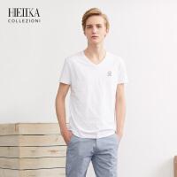 海一家男装2018夏季新品时尚趣味短袖T恤