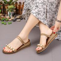 凉鞋 女士珍珠坡跟两穿罗马鞋2020夏季新款韩版时尚女式休闲百搭透气沙滩鞋学生鞋子