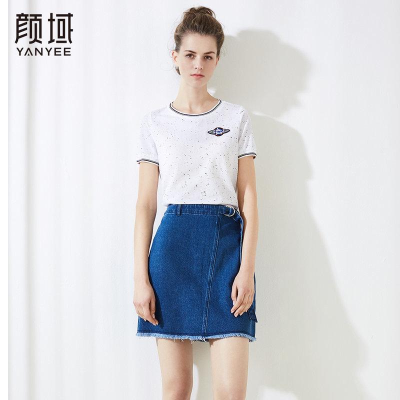 颜域休闲百搭圆领短袖T恤女撞色罗纹上衣薄2018品牌女装夏季新品