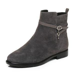 Tata/他她2017冬羊绒皮时尚皮带扣方跟女皮靴F0636DD7