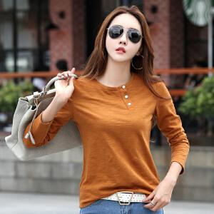 竹节棉t恤女秋季新款长袖打底衫宽松大码韩版纯色显瘦上衣服