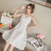 明星同款白色流苏吊带连衣裙夏无袖露肩夏季长裙女 图片色