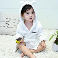 儿童浴袍男孩珊瑚绒睡衣0宝宝1-2-3岁婴儿法兰绒睡袍秋冬女童浴袍