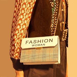 【支持礼品卡】柏雅图 女包牛皮斜挎包女2018新款格纹小方包时尚真皮单肩包女