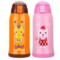 儿童保温杯两用吸管壶幼儿园学生便携不锈钢大容量水杯