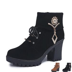 WARORWAR新品YM161-AA-9秋冬欧美粗跟高跟水钻女士靴子短靴