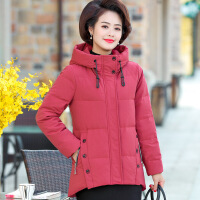 №【2019新款】送妈妈的冬装本命年羽绒服短款中年女士洋气外套老年人时尚棉衣厚 红色