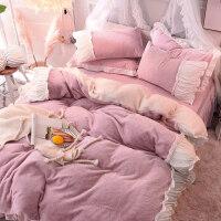 床上四件套冬季珊瑚绒加绒双面绒法兰绒床单公主风加厚兔兔绒被套