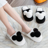 棉拖鞋女冬季2019室内可爱家居情侣居家用厚底包跟毛绒男冬天