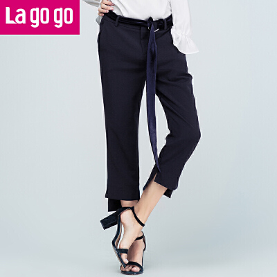Lagogo/拉谷谷2017年秋新款裤脚前短后长开衩休闲裤