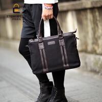 新款韩版帆布男包手提包单肩斜挎包休闲商务男包公文包电脑包2018 黑色