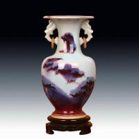 景德镇陶瓷花瓶 钧瓷仿古官窑天青窑变颜色釉双耳花瓶 中式摆件设