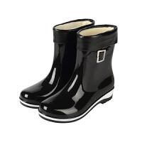 秋冬季雨鞋女中筒防滑防水胶鞋加绒保暖短筒水靴雨靴时尚水鞋套鞋