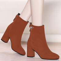 女士棉皮鞋高跟高跟短靴女秋冬季2018新款棉鞋毛皮鞋粗跟中筒靴加绒女式靴子srr
