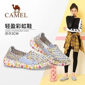 Camel/骆驼女鞋2018春新款韩版运动休闲单鞋学生懒人乐福鞋女软妹编织鞋