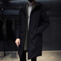 羽绒服男中长款韩版加厚青年连帽修身潮流男士帅气外套黑色羽绒衣