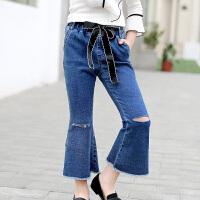女童裤子韩版外穿长裤新款儿童春装中大童洋气弹力开衩牛仔裤