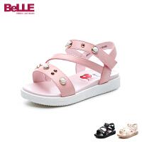 百丽Belle童鞋儿童凉鞋2018夏季新款甜美公主鞋女童时尚学生鞋 (5-10岁可选) DE0709