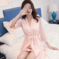 女夏季吊带胸垫睡裙两件套性感睡衣女短袖睡袍家居服 魅力粉 7分袖 送胸垫