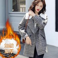 茉蒂菲莉 毛呢外套 女士格子宽松西装领加绒毛呢大衣冬季新款韩版女式时尚休闲舒适百搭女装