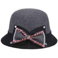 毛呢礼帽秋冬季韩版拼色帽子女士中老年盆帽百搭毡帽 M(56-58cm)