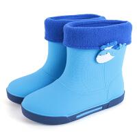 女孩男孩5-6-7-8-9-岁雨靴男童女童雨鞋小学生中筒水靴防滑雨靴 34 适合8-9周岁