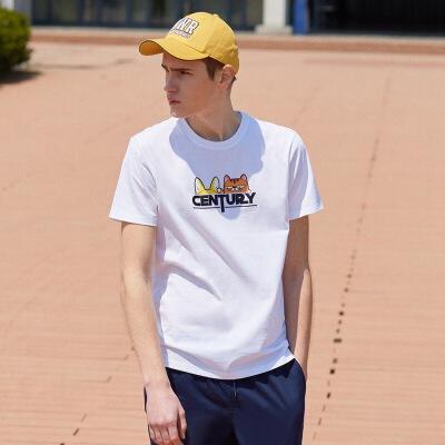 美特斯邦威印花t恤男短袖潮2019新款夏季休闲潮流帅气学生体恤男