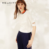 【1件3折到手价:101.7】MECITY女装简约chic撞色拉链白色休闲运动短袖T恤