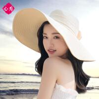 沙滩帽遮阳草帽大沿帽子女夏天可折叠防晒太阳帽海边度假韩版百搭