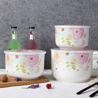 大容量骨瓷保鲜碗陶瓷储物密封罐大号密封微波炉饭盒带盖套装