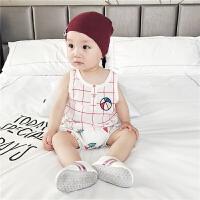 婴儿套装夏装新生儿纯棉短袖皮球格子两件套薄款夏季宝宝短裤