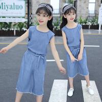 女童夏装新款时髦套装牛仔阔腿裤儿童装洋气女孩衣服潮