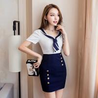 海军风制服裙子2018夏季新款 时尚性感v领连衣裙修身显瘦包臀短裙