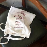 日韩简约字母原创小清新帆布袋女包文艺购物袋单肩学生帆布包