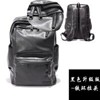 男包韩版潮包PU皮男士双肩包男背包学生书包电脑包休闲运动旅行包 黑色 全PU皮