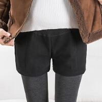 宽松潮妈怀孕期冬装孕妇短裤秋冬外穿托腹毛呢时尚孕妇打底短裤裙