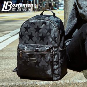 波斯丹顿帆布包双肩包男时尚韩版潮流男包电脑包大学生书包男士背包旅行包B6174051