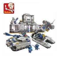 小鲁班 军事积木坦克战机大楼拼插模型 拼装儿童益智玩具