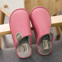 冬季皮棉拖鞋女室内地板防滑情侣居家保暖软底厚底家用防水拖鞋男