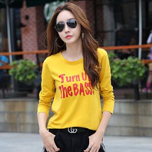 长袖女韩版宽松T恤秋装新款百搭长袖t恤大码显瘦打底衫上衣服