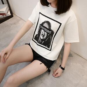 2018夏装新款套头短袖T恤女显瘦打底上衣宽松大码女装圆领体恤衫