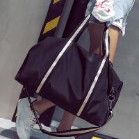 短途旅行包女手提行李袋男韩版简约大容量旅行袋轻便防水健身包潮 黑色 中