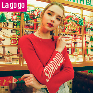 Lagogo2018春季新款时尚圆领长袖针织衫女宽松直筒套头运动风上衣