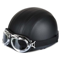 摩托车头盔电动车男女夏季四季冬季半盔半覆式安全帽保暖