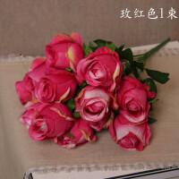 12头玫瑰把花假花仿真玫瑰花 婚庆布置插花摄影T台路引橱窗花艺
