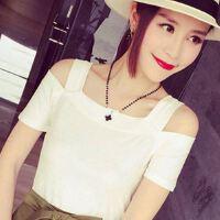 短袖T恤女夏季韩版学生修身显瘦体恤小衫双露肩纯色